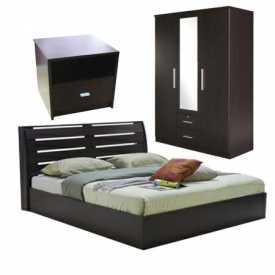 Bộ Giường NB Plus 6FT + Tủ Áo 3 Cửa NB METRO + Tủ Đầu Giường WINNER Nâu Đen